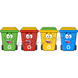 royalty free rf clipart illustration four color recycle bins cartoon  character vector illustration isolated on white background . Royalty.