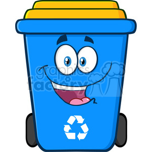 royalty free rf clipart illustration happy blue recycle bin cartoon  character vector illustration isolated on white background . Royalty.