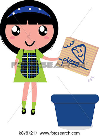 Clip Art of Cute girl recycle paper box into recycling bin.