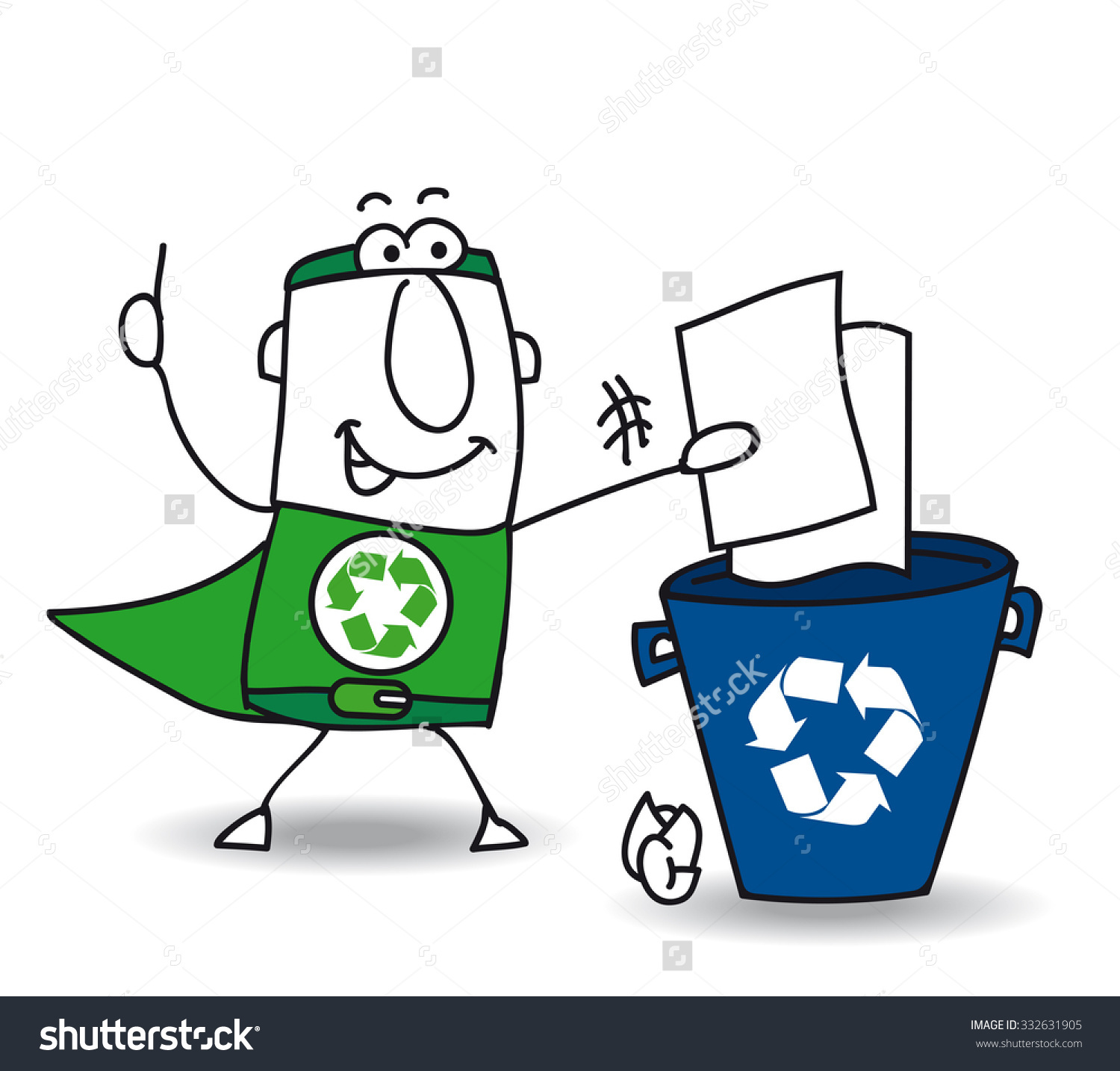 Recycling Paper Recycleman Superhero Recycles Paper Stock Vector.