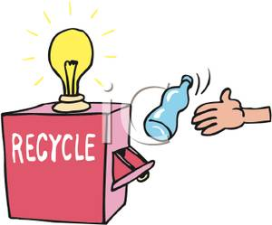 Recycle Box with a Light Bulb on Top Clip Art Image.