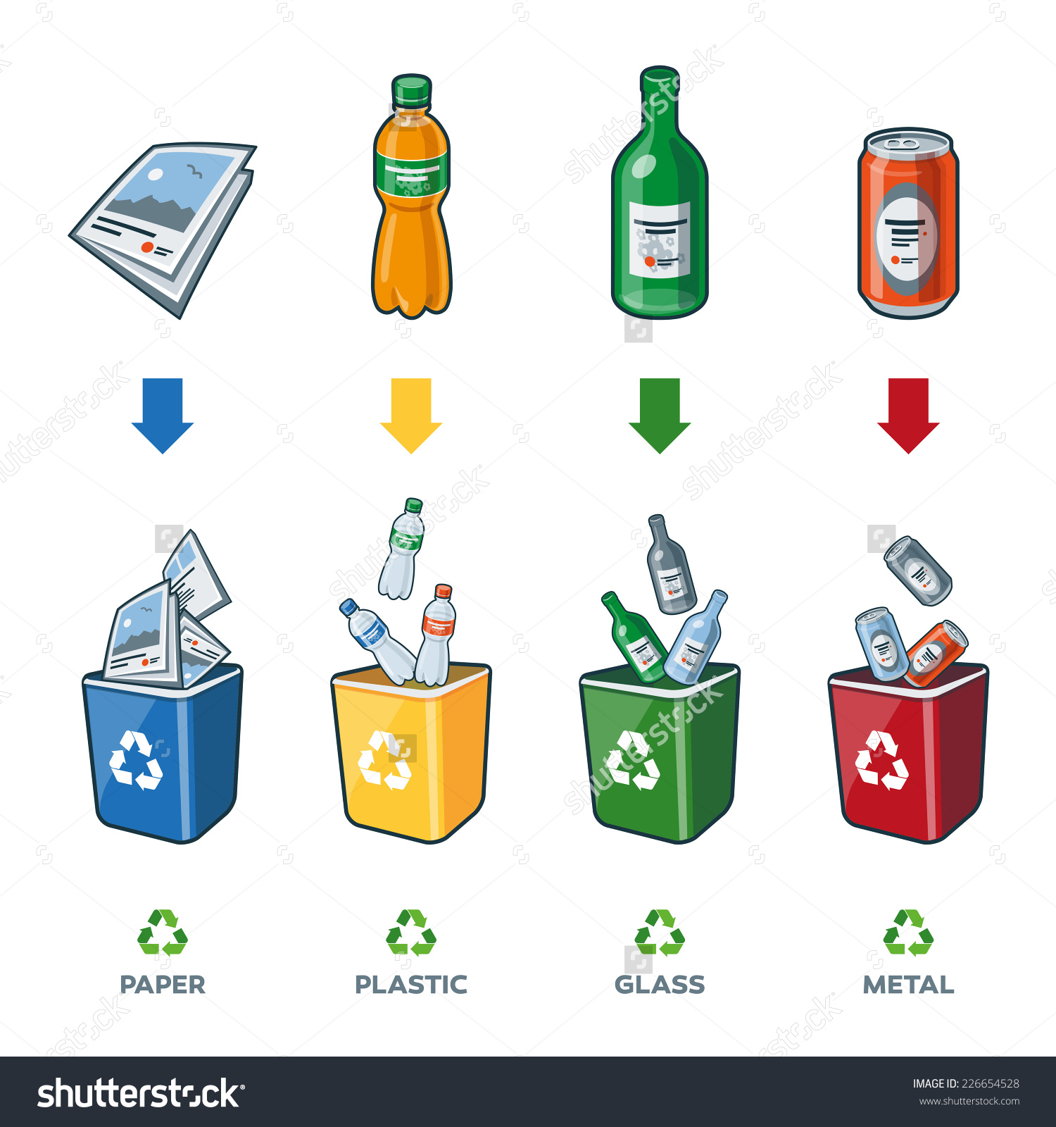 Four Recycling Bins Illustration Paper Plastic Stock Vector.