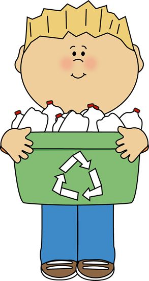BOY WITH RECYCLE BIN.