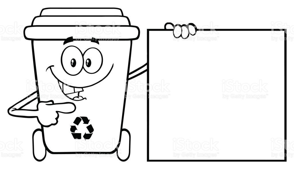 Talking Black And White Recycle Bin Cartoon Mascot Character.