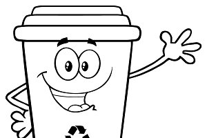 Black And White Happy Recycle Bin ~ Illustrations on Creative Market.