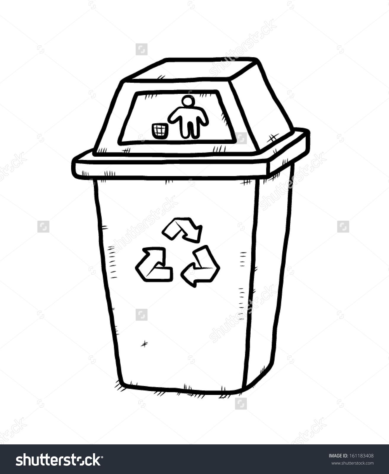 Recycle Bin Cartoon Vector Illustration Hand Stock Vector.