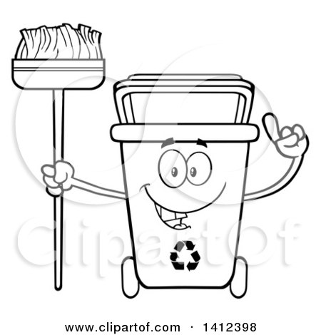 Clipart of a Cartoon Black and White Lineart Recycle Bin Character.