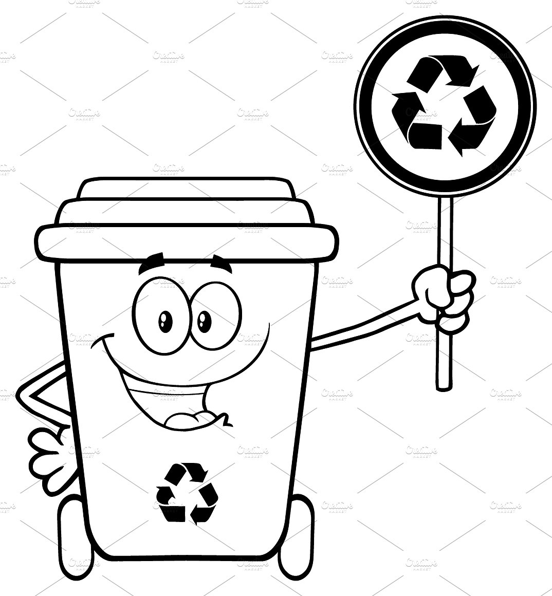 Black And White Cute Recycle Bin ~ Illustrations on Creative Market.