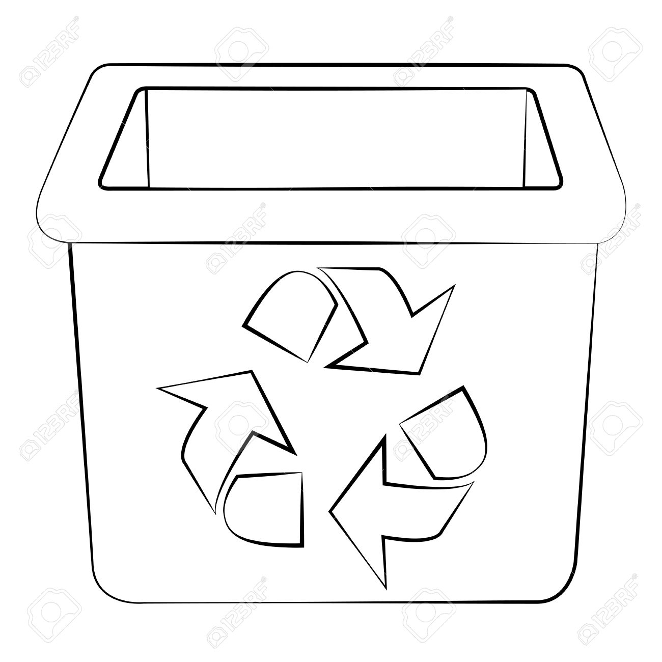 Outline Of Garbage Can Or Recycle Bin On White Background. Royalty.