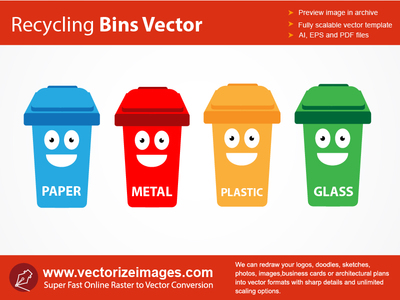 Recycling bins clipart.