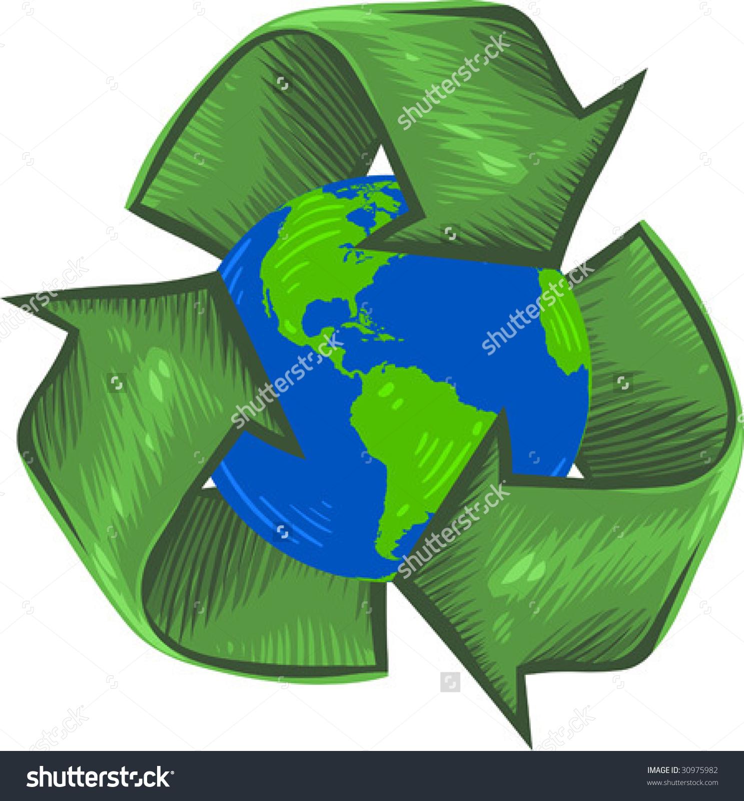 Vector Clip Art Illustration Earth Enveloped Stock Vector 30975982.