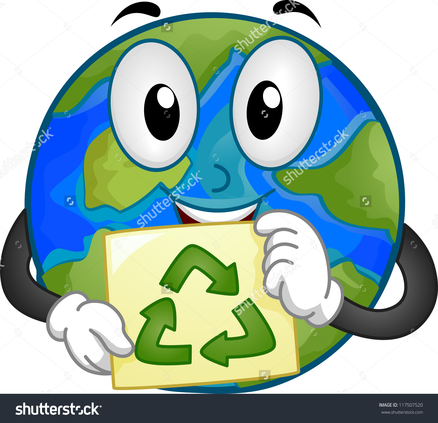 Mascot Illustration Featuring Earth Holding Recycling Stock Vector.