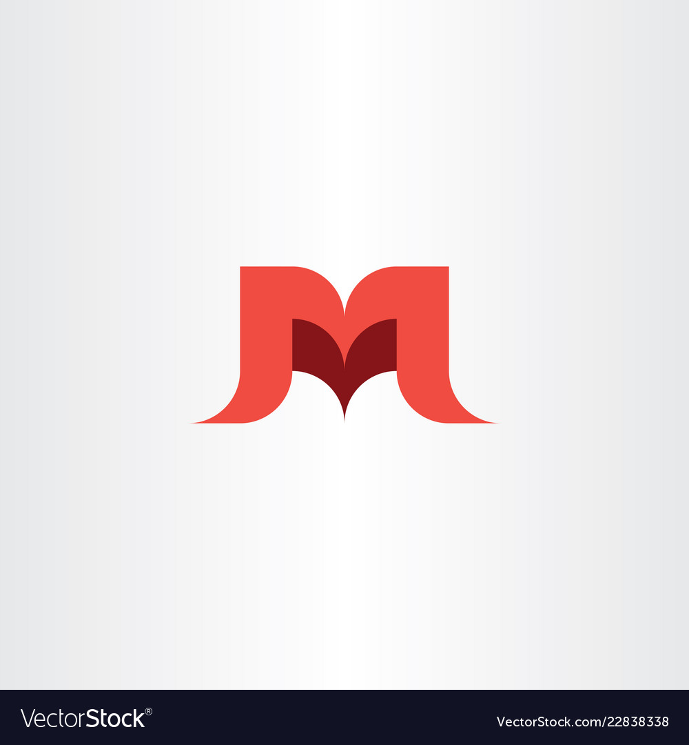 Letter m and v red logo mv icon.