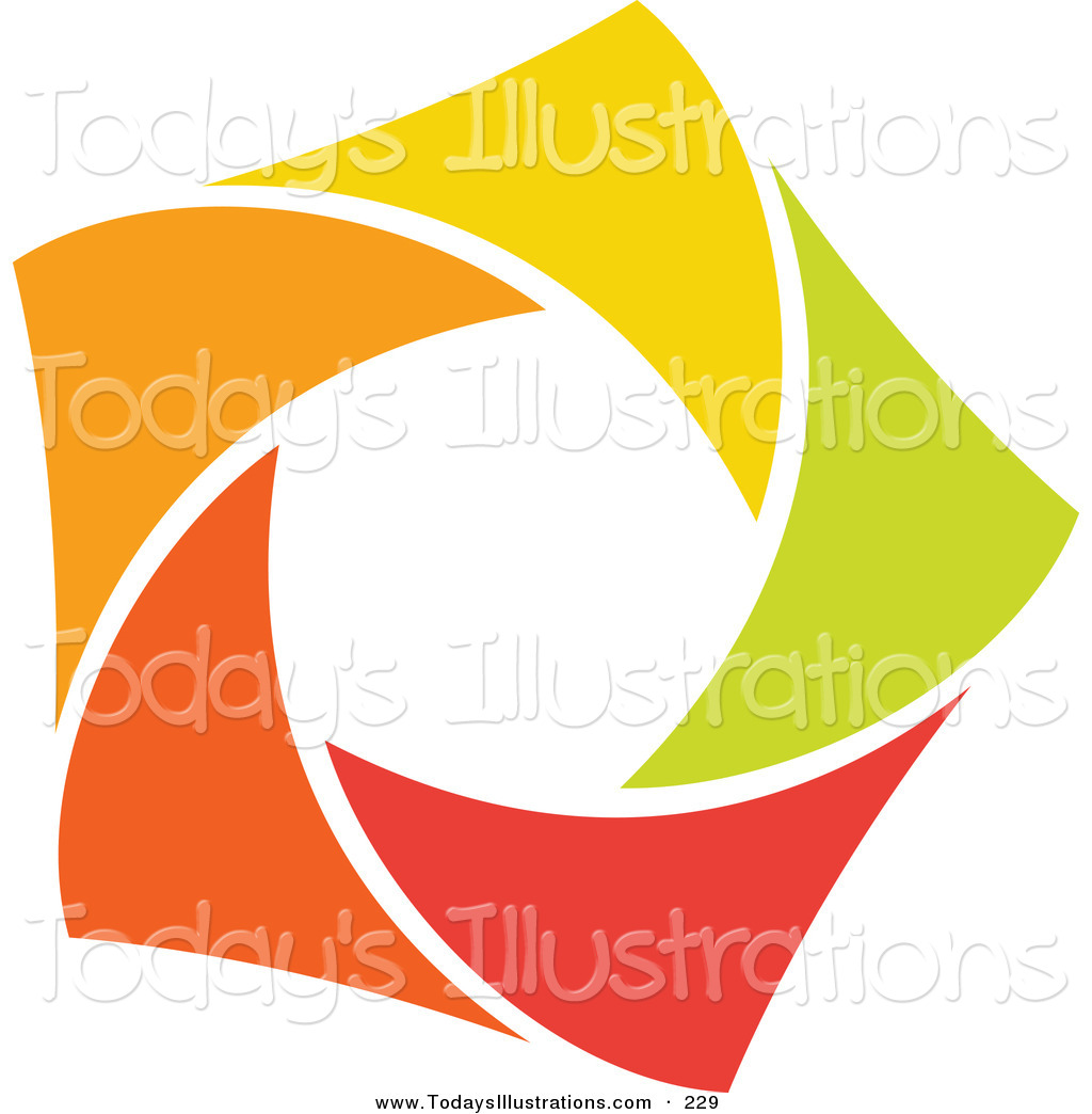 Clipart of an Abstract Orange, Green, Red and Yellow Star Logo.