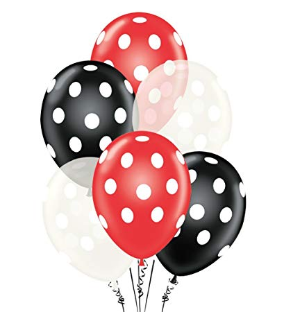 Polka Dot Balloons 11 Inch Premium Red, Clear and Black with All.