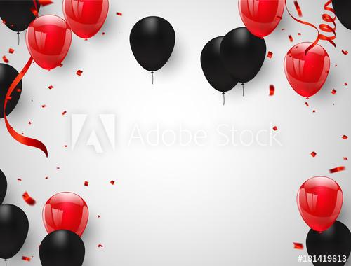 Red black balloons, confetti concept design Happy greeting.