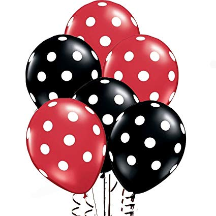 25Ct Assorted Red and Black Balloons with White Polka Dots.