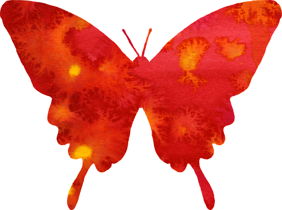 Free illustration: Butterfly, Clipart, Red, Watercolor.