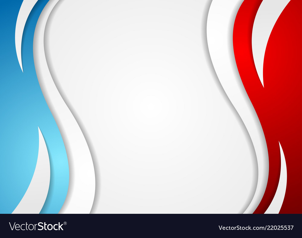 Abstract red and blue corporate wavy background.