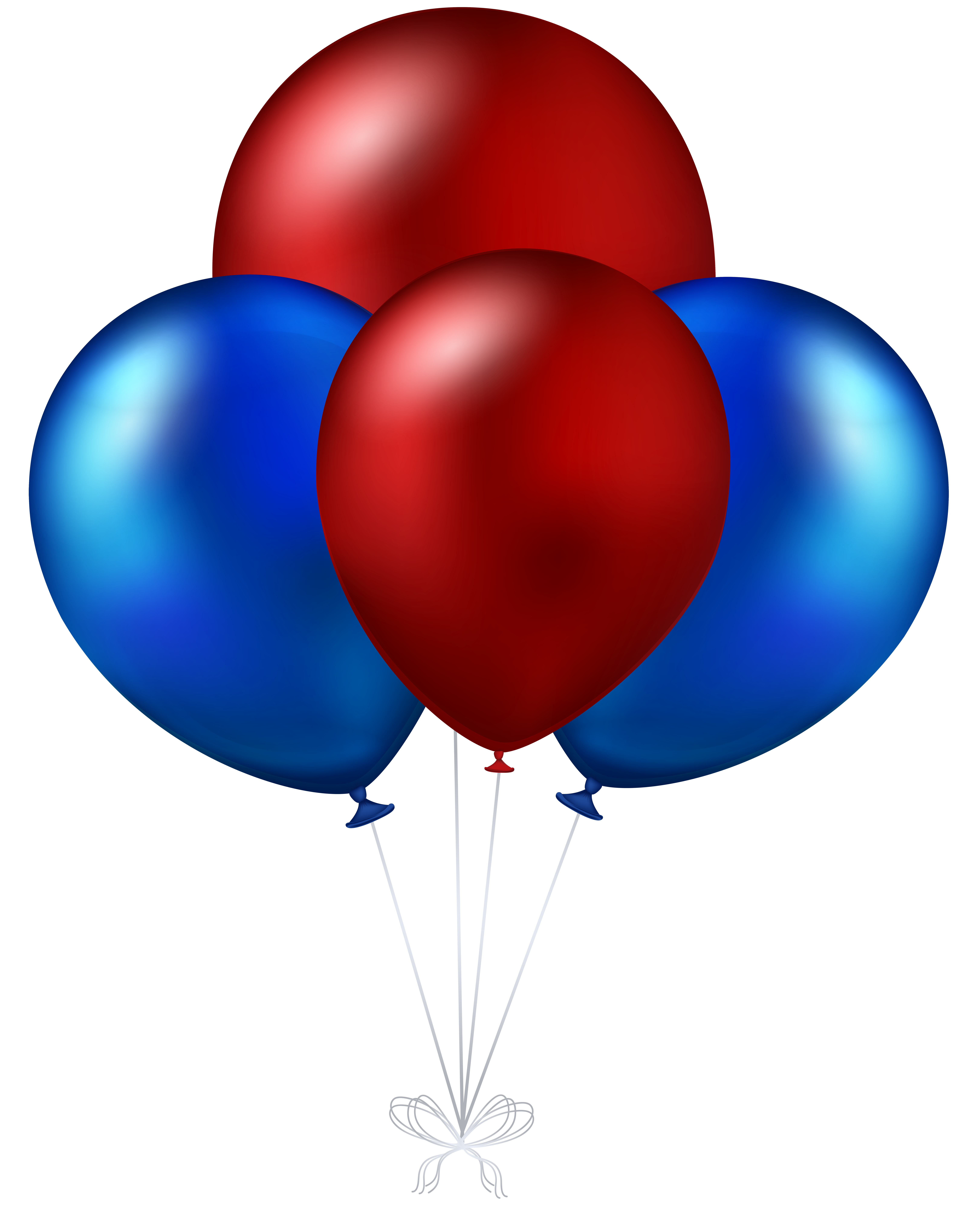 Red and Blue Balloons Transparent PNG Clip Art Image.