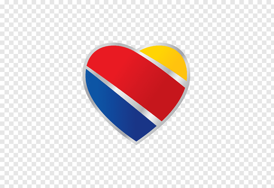 Yellow, red, and blue heart, Southwest Airlines Logo Dallas.