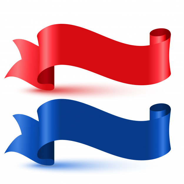 Red and blue 3d flag ribbon Vector.