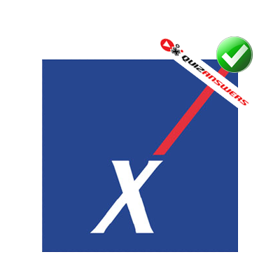 Blue Background White X Red Stripe Logo.