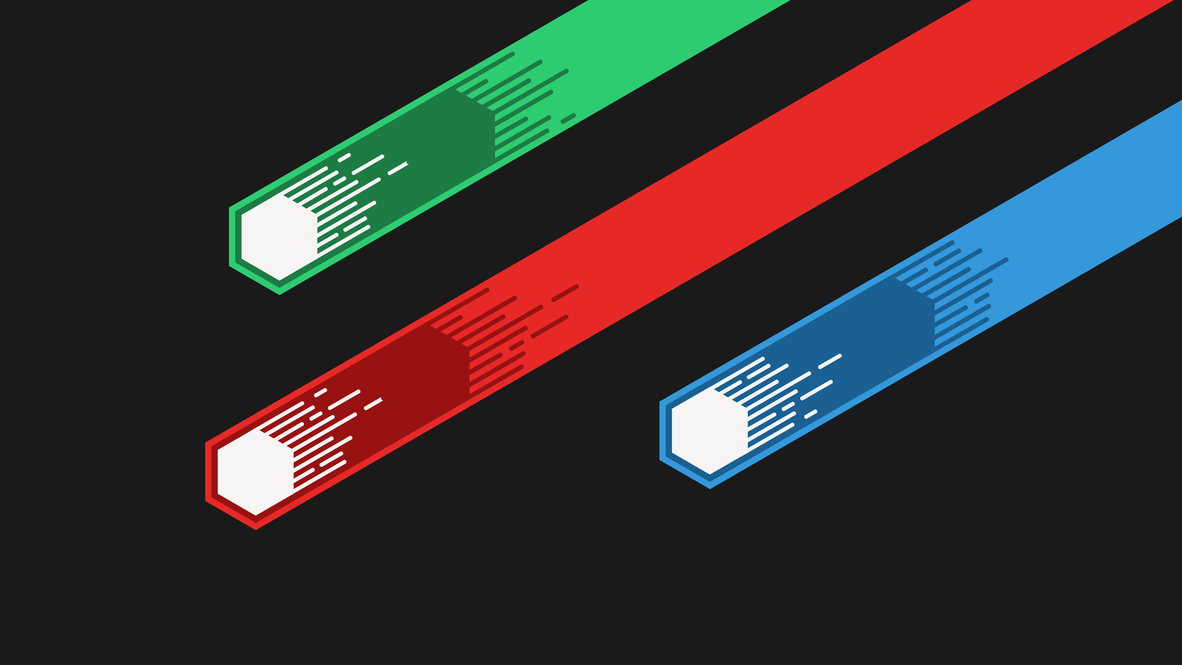 Three green, red, and blue stripe logo, meteors, Flatdesign.