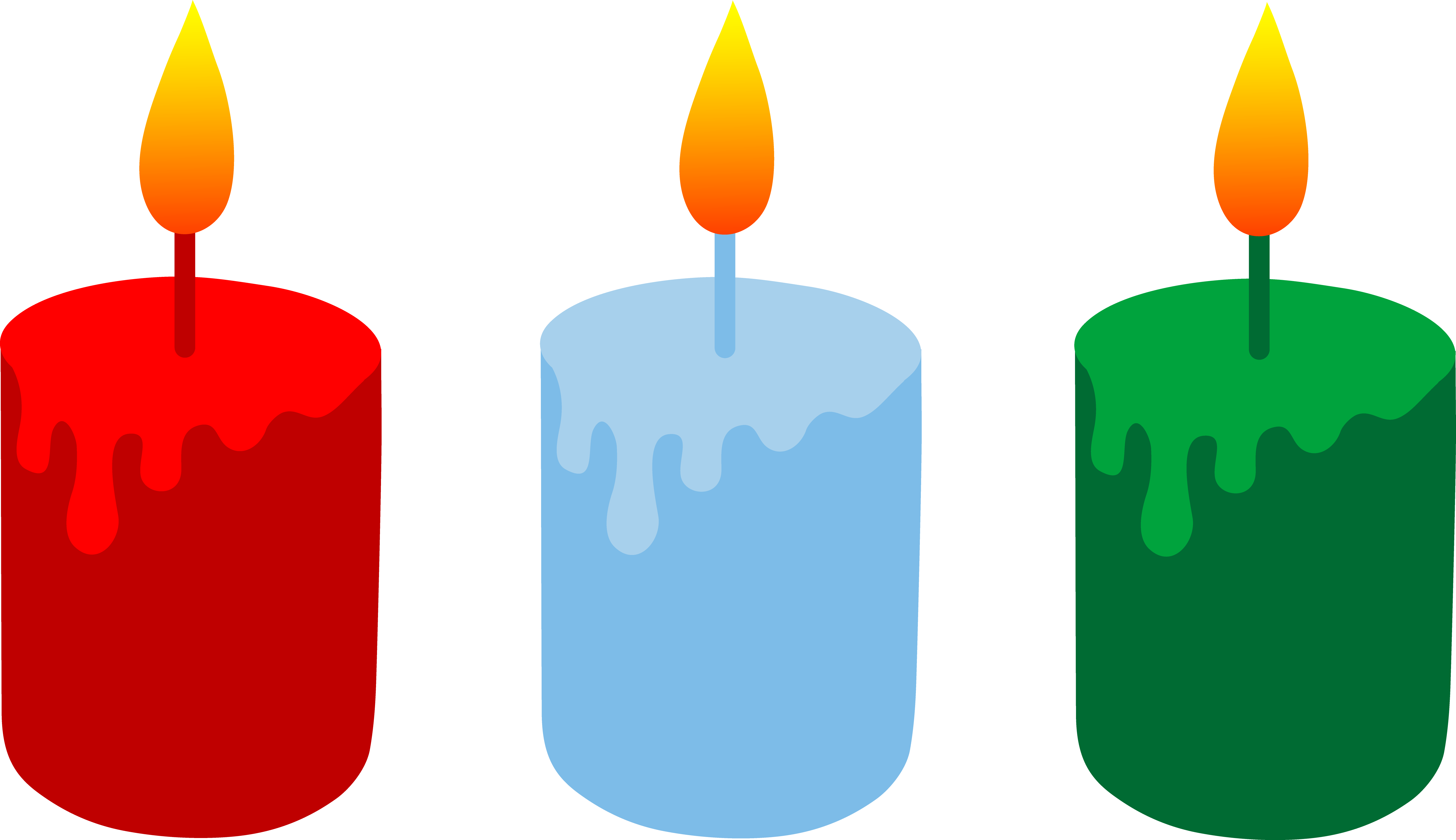 Red Blue and Green Christmas Candles.