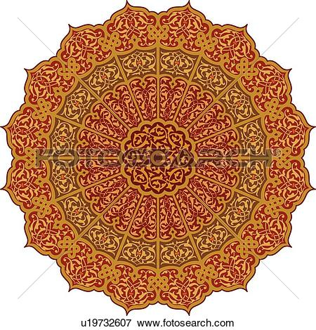 Clip Art of Round red, orange and gold petal pattern Arabesque.