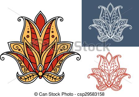 Clipart Vector of Indian paisley flower with red and orange petals.