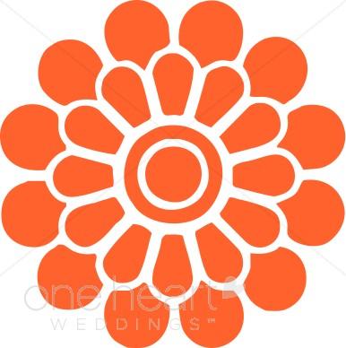 Orange Modern Flower Clipart.