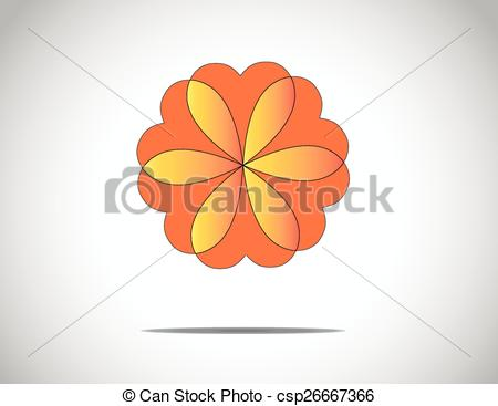 Clip Art Vector of unique beautiful red & orange flower with heart.