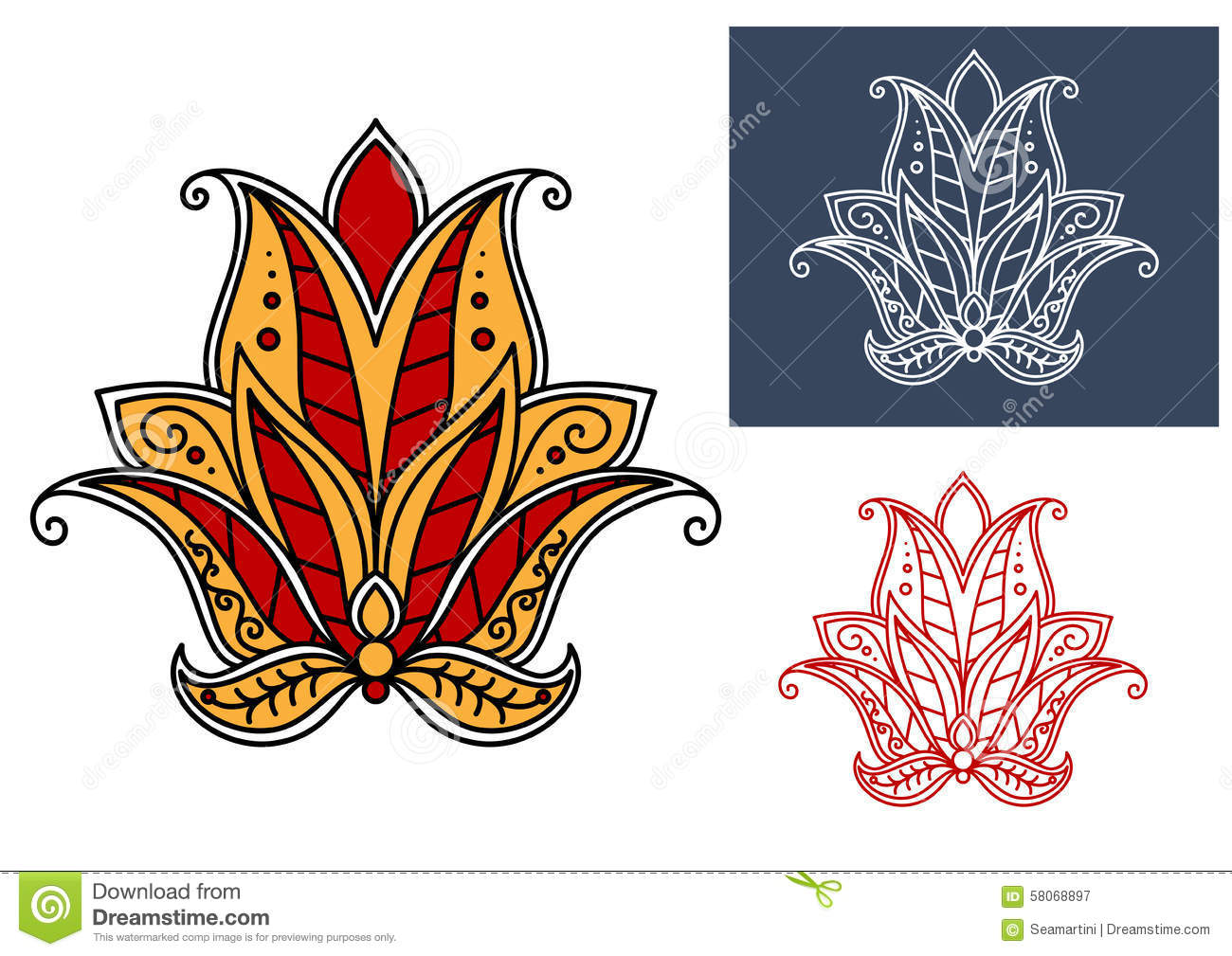 Indian Paisley Flower With Red And Orange Petals Stock Vector.