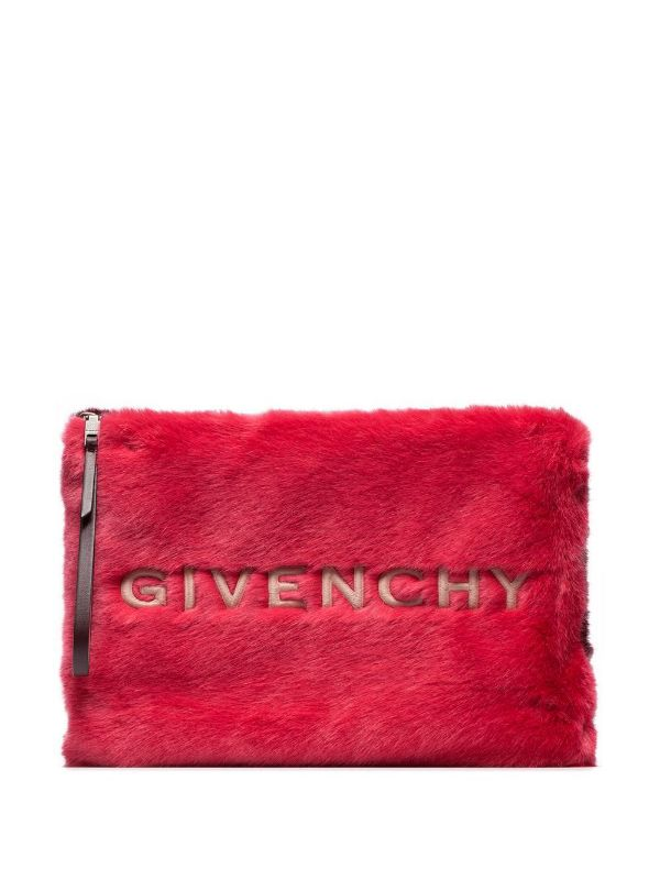 Givenchy Red And White Logo Embroidered Faux Fur Pouch.