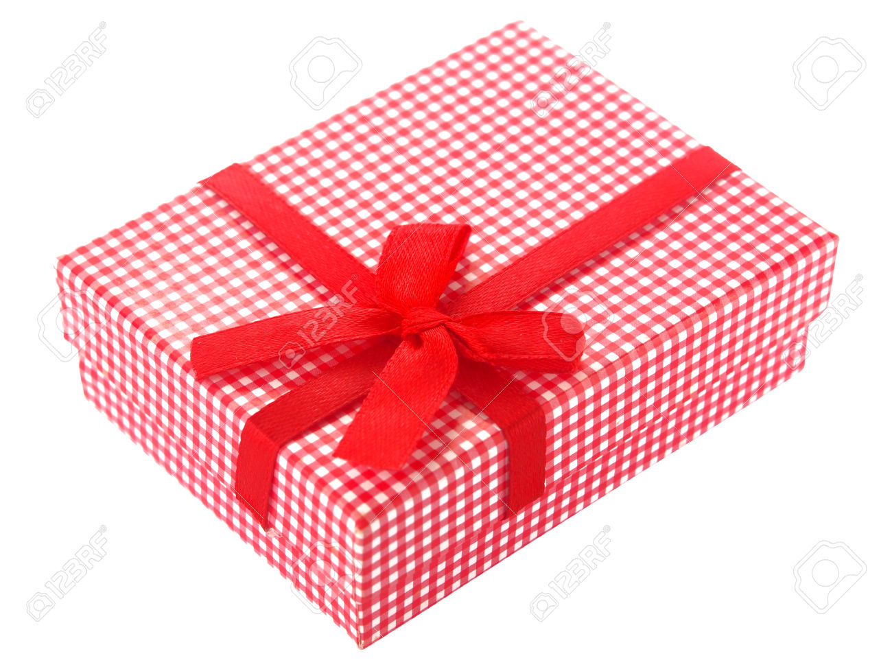 Red And White Checkered Gift Box Isolated Stock Photo, Picture And.