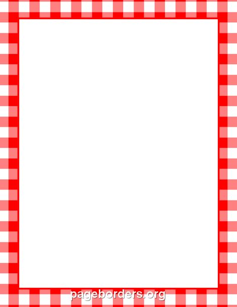 Printable menu border with a red and white gingham pattern. Free.