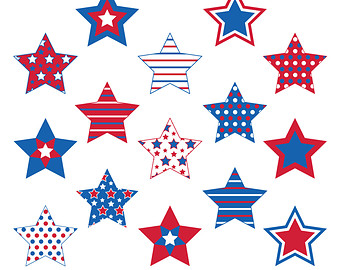 Red White And Blue Stars Clipart.
