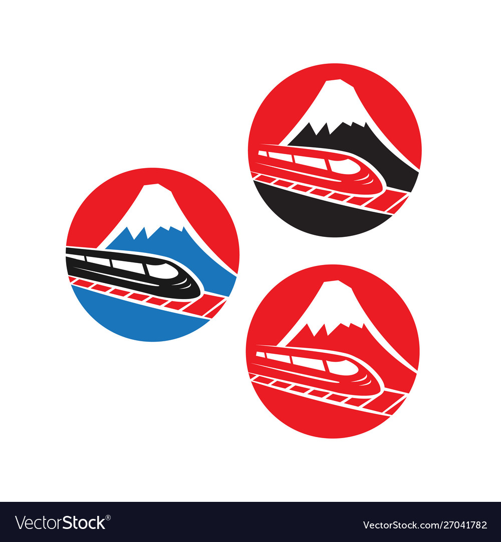 Japanese red logo with fuji mountain and speed.