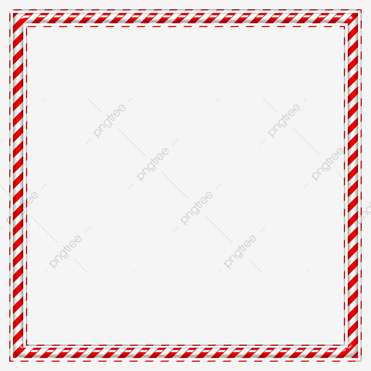 Red White Candy Striped Shining Embossed Square Frame Border.