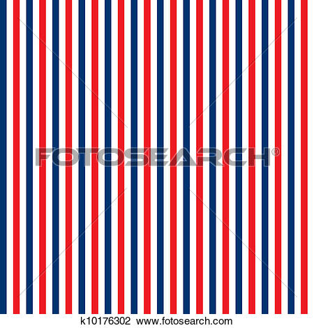 Clip Art of Seamless Red, White & Blue Stripes k10176302.