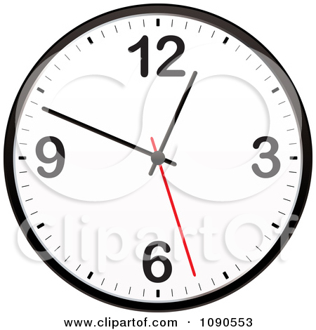 Clipart Black And White Wall Clock With A Red Second Hand.