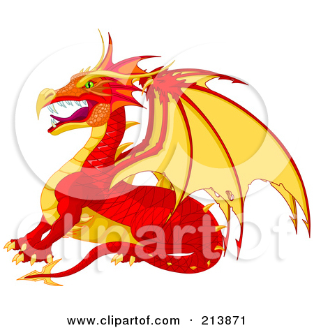 Clipart of a Cute Red and Orange Baby Dragon.