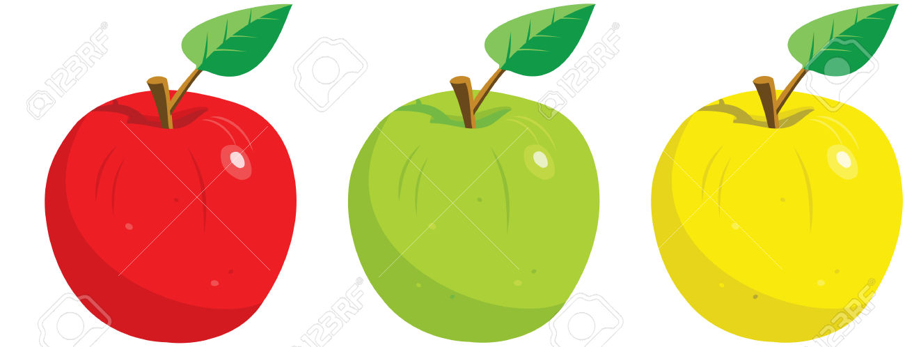 Apple red yellow and green clipart.