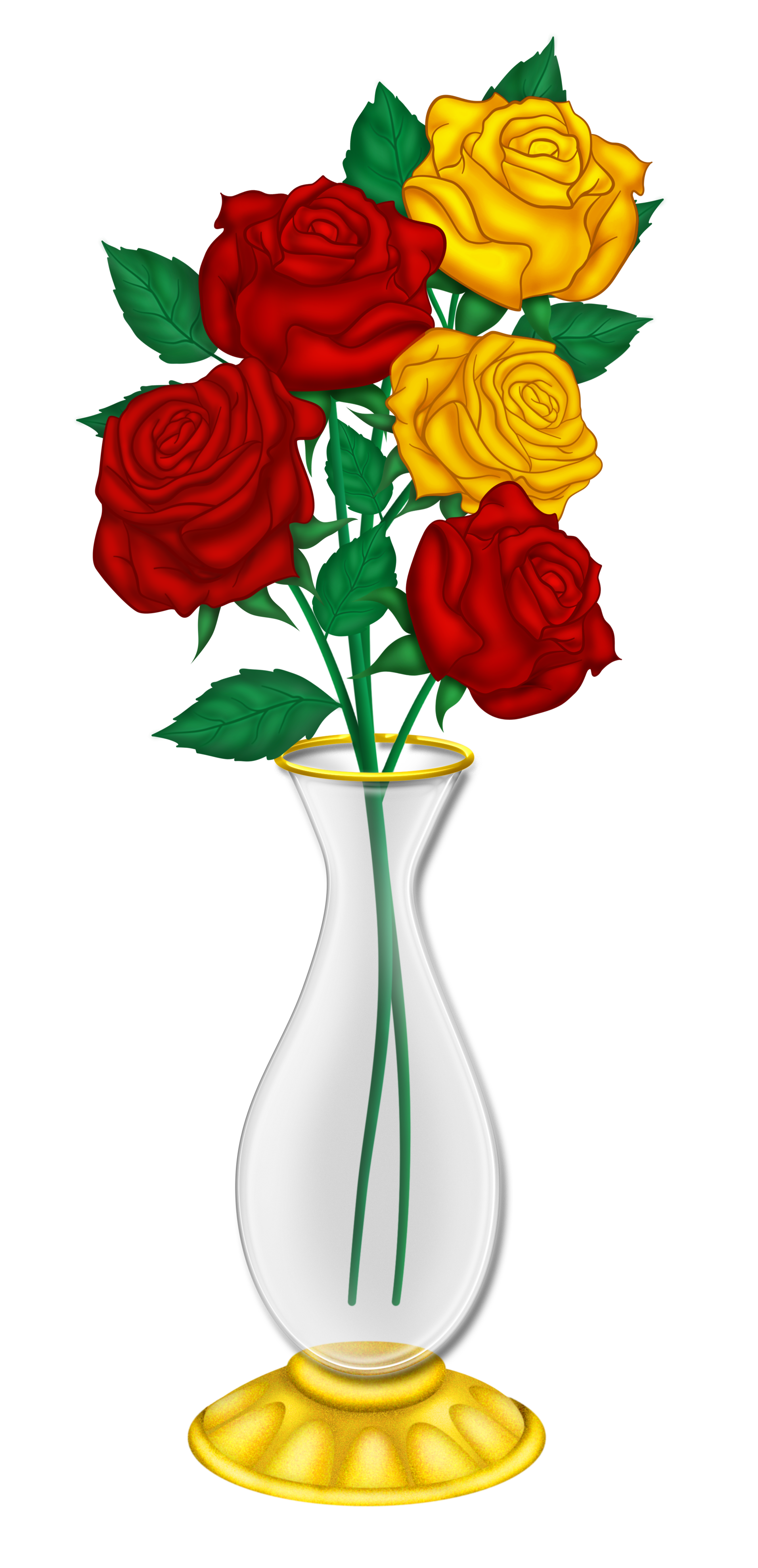 Beautiful Vase with Red and Yellow Roses PNG Picture.
