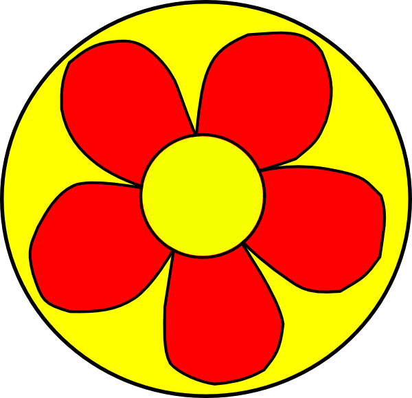 Red Flower With Yellow Background Clip Art at Clker.com.