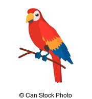 Vector Clipart of Red Ara Tropical Parrot Icon.