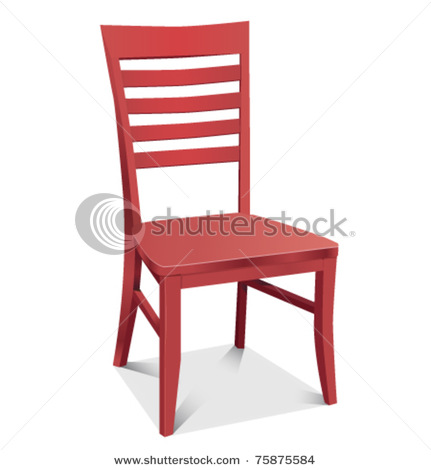 of a red wooden chair in a vector clip art illustration.