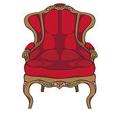 Clip Art of old chair red with gold ornament on black k8843416.