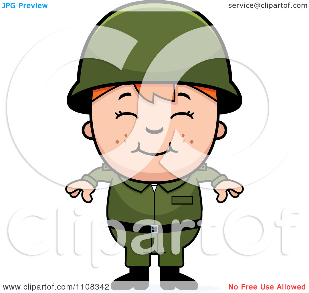 Clipart Happy Red Haired Army Boy.